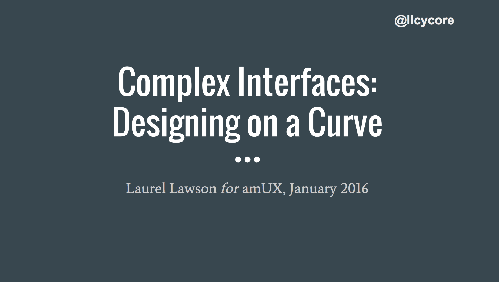 Complex Interfaces