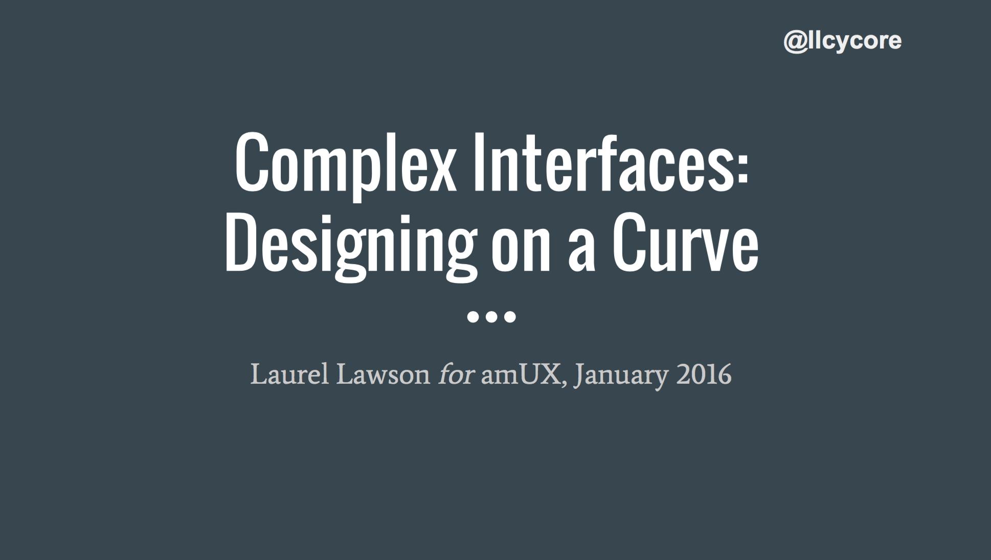 Complex Interfaces